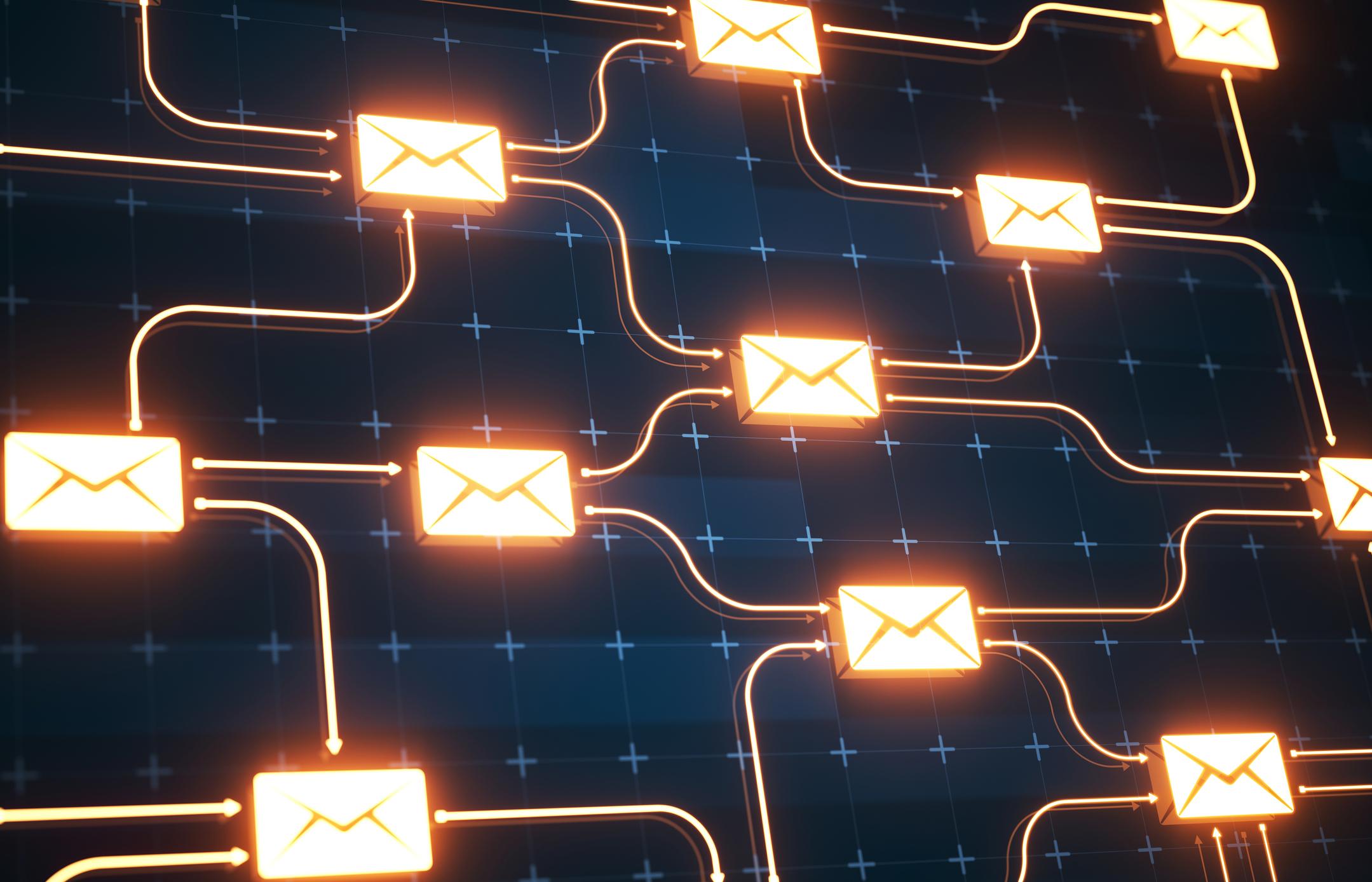 Email marketing online message network communication on digital background.