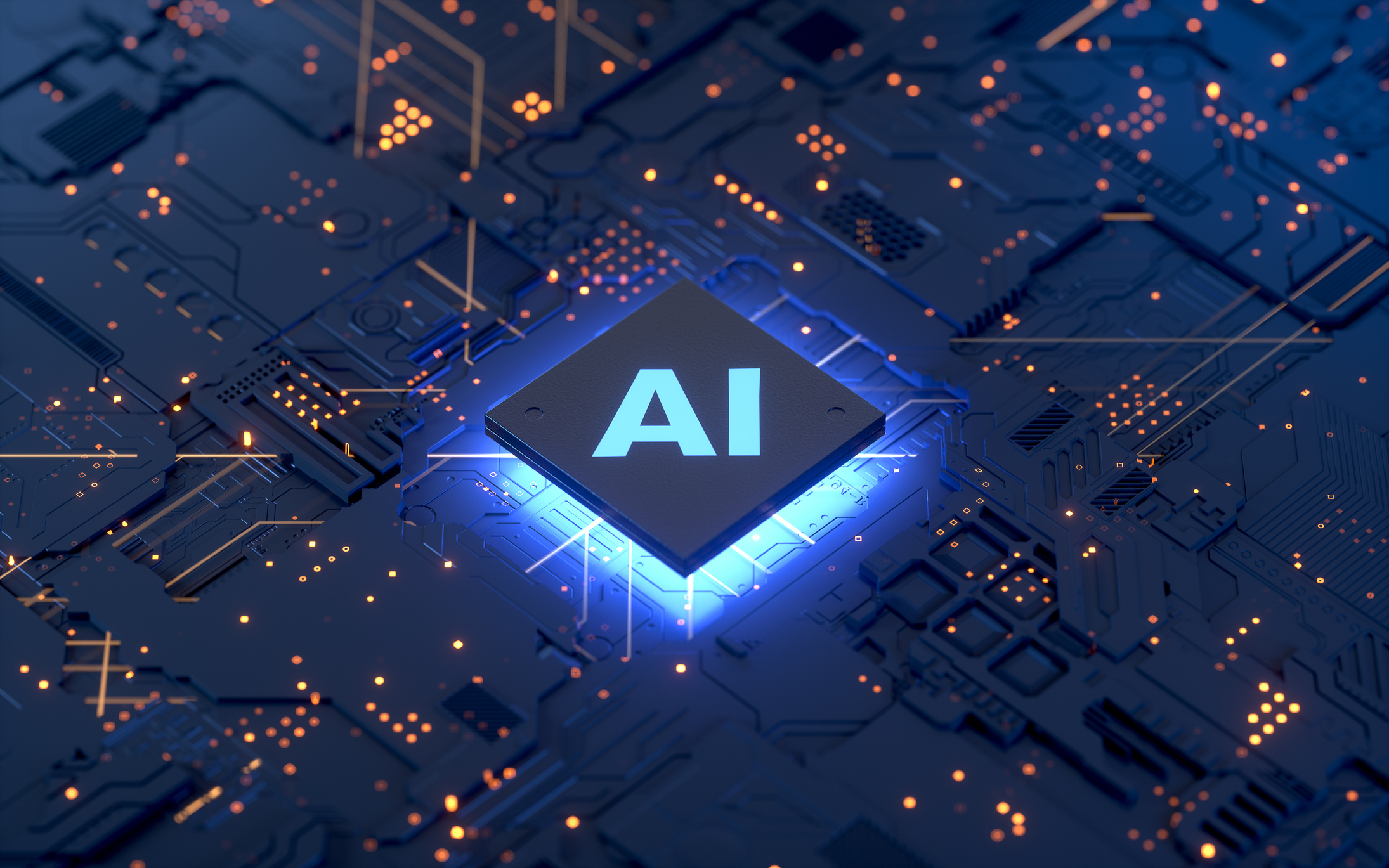 "A computer chip with the letters ""AI"" sits on a circuit board."