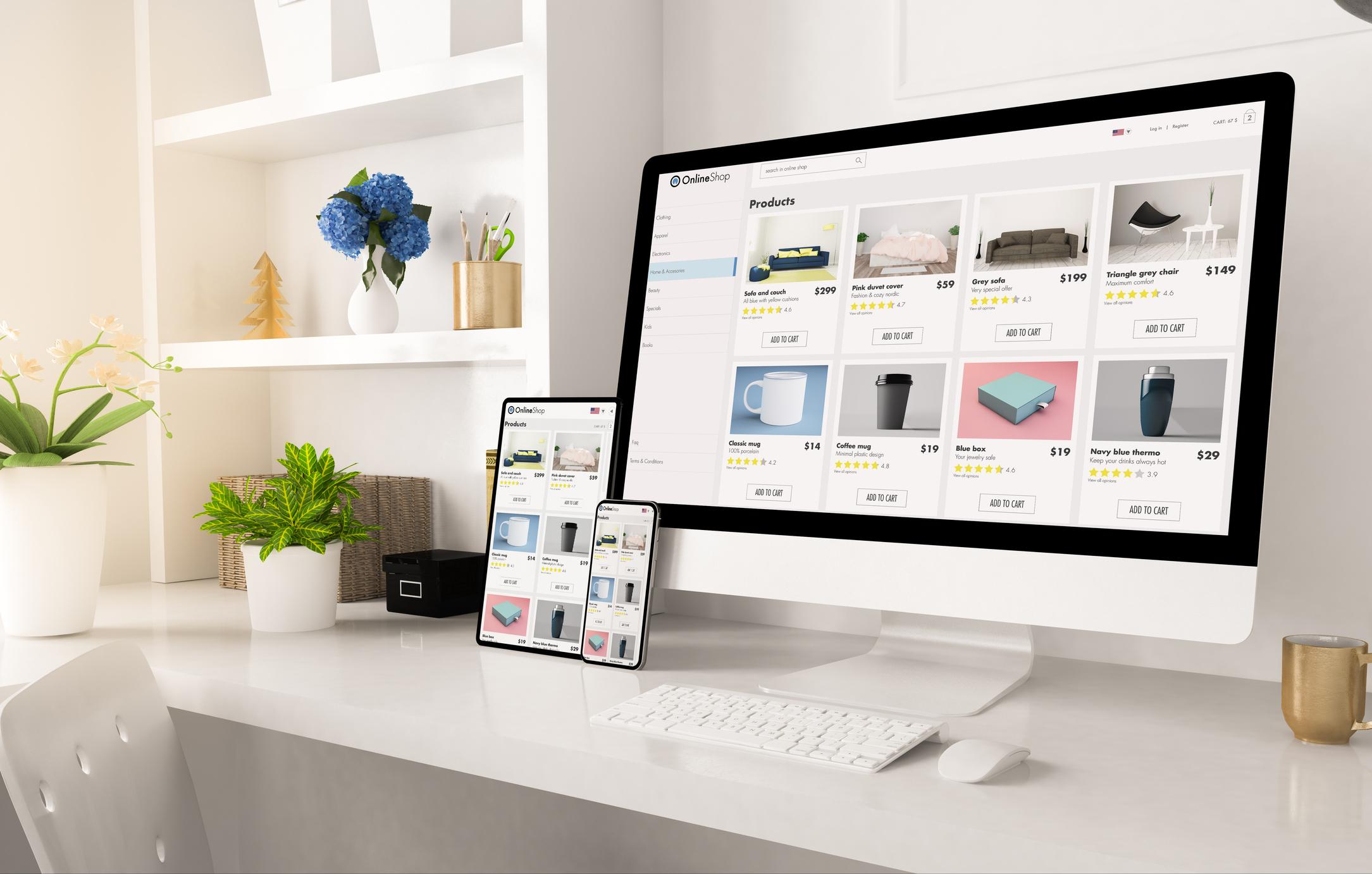 online shop website on home office setup 3d rendering